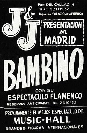 Cartel de la presentacion de Bambino en la Sala JJ de Madrid