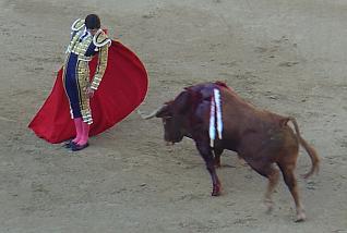 Pase cambiao por la espalda de Castella en las Ventas el 3 de octubre de 2.009